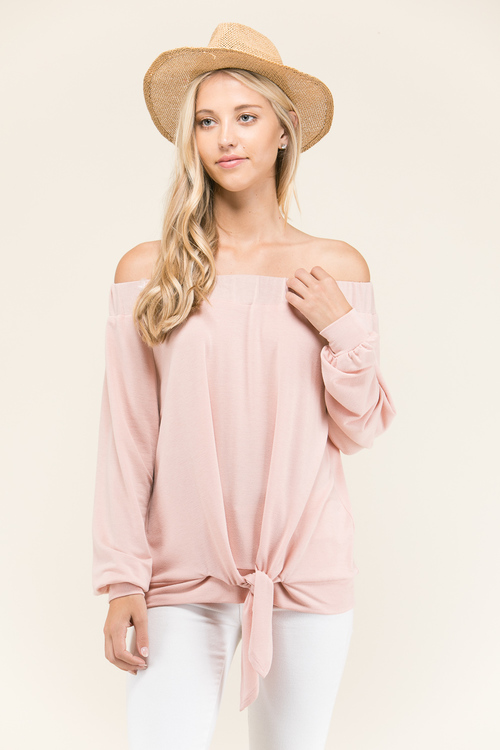 Off Shoulder Tie Front Top