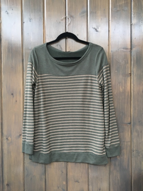 French Terry Stripe Long Sleeve Top