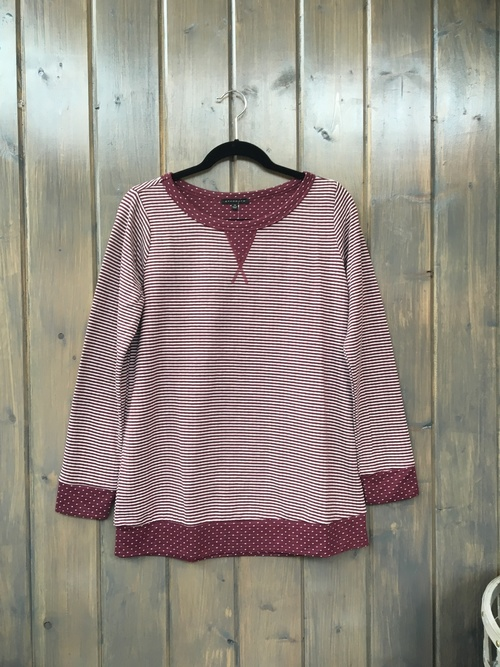 Polka Dot and Stripe Mixed Pullover