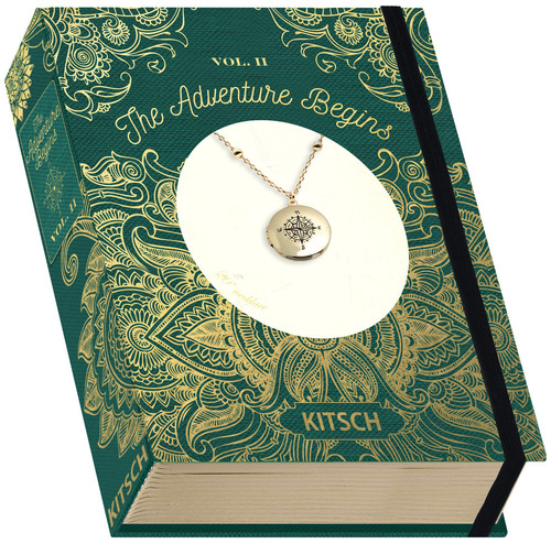 Vintage Book Compass Locket