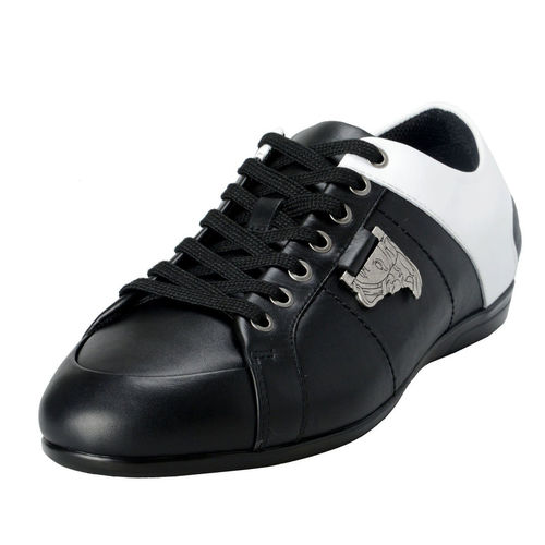White / Black Leather Sneakers Shoes