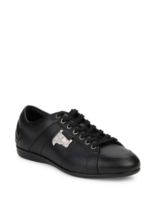 Black / Logo Leather Sneakers Shoes
