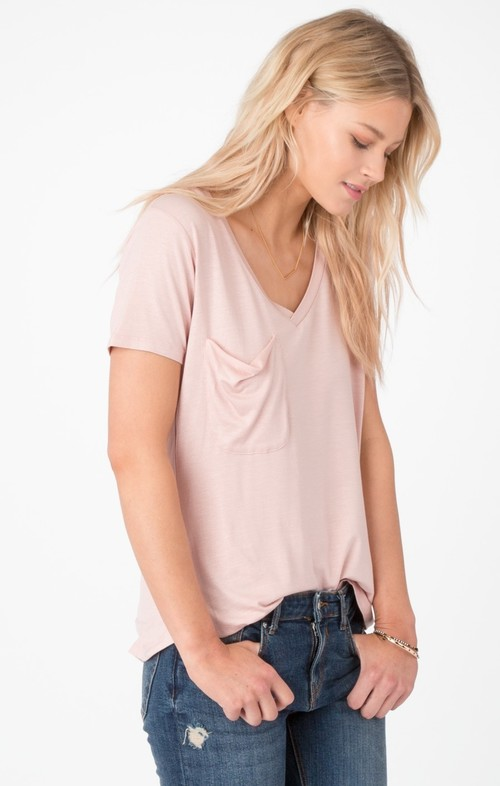 The Shimmer Pocket Tee Silver Pink