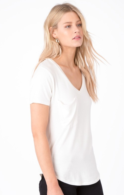 The Shimmer Pocket Tee Pearl