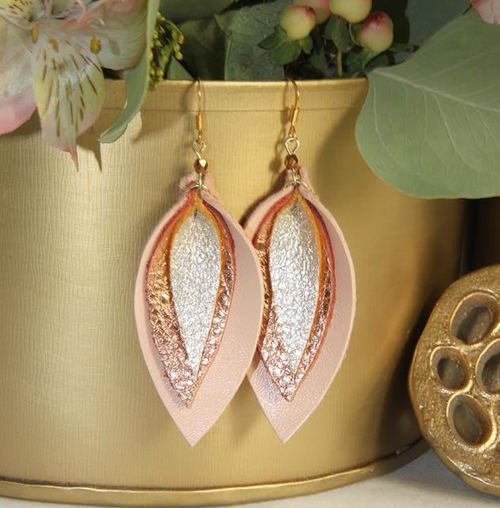 Jillian Made Triple Leather Champagne & Rose Gold Earring