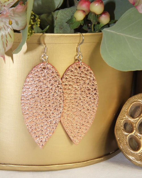 Rose Gold Large Leather Earrings