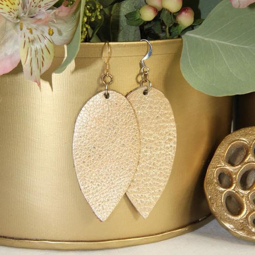 Gold Large Leather Earrings