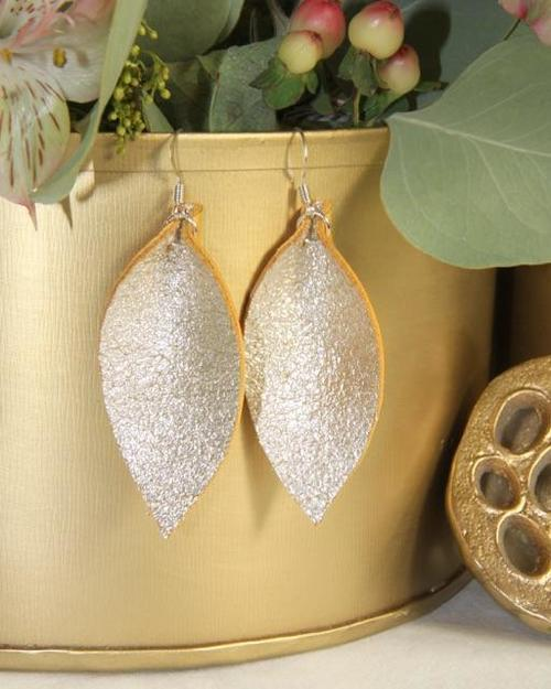 Jillian Made Champagne Leather Earring