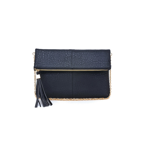 Fold Over Black Melodie Clutch