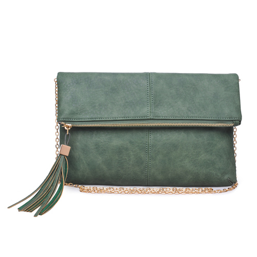 Fold Over Olive Melodie Clutch