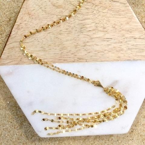 Krinkle Y Cluster Necklace 14K Vermeil