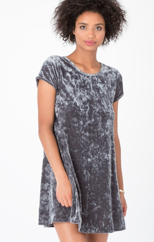 Crushed Velour Swing Dress Charcoal