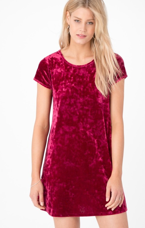 Crushed Velour Swing Dress Dark Ruby