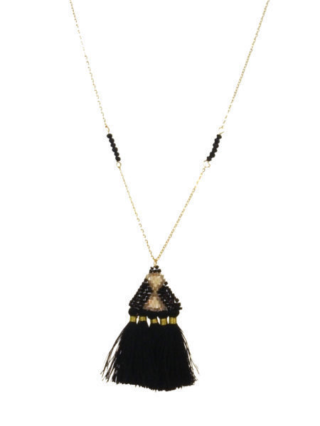 Seed Bead & Tassel Necklace Black