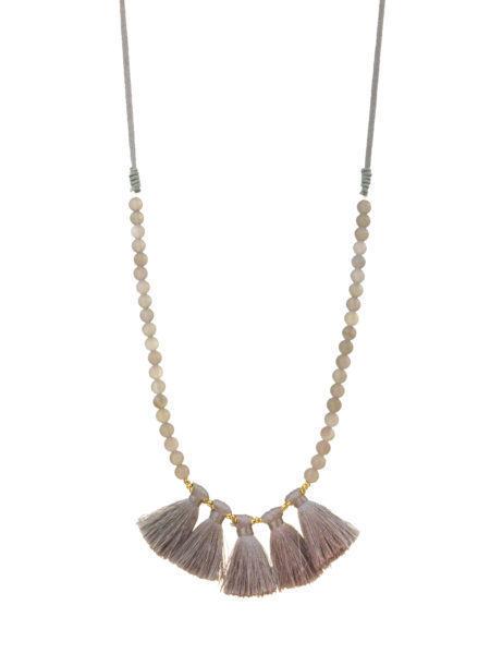 Matte Bead & Tassel Necklace Grey