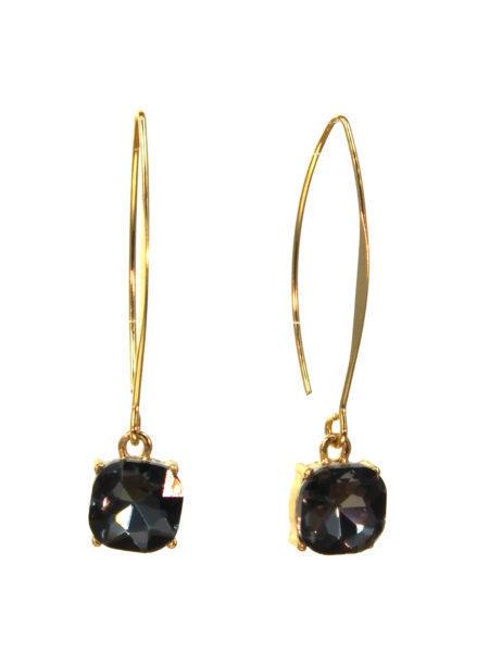 Hanging Crystal Earring Black