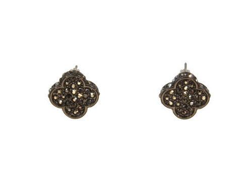 Crystal Clover Earring Hematite
