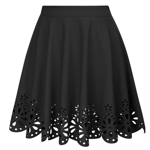 Snowflake Laser cut Mini Skirt (Black)