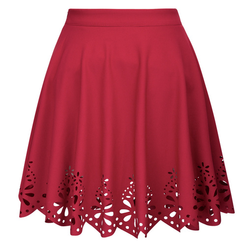 Snowflake Laser cut Mini Skirt (Red)
