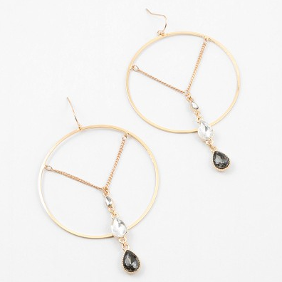 Chain Gem Hoop Dangle