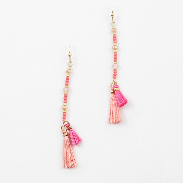 Pink Beaded Hang Tassel Dangle