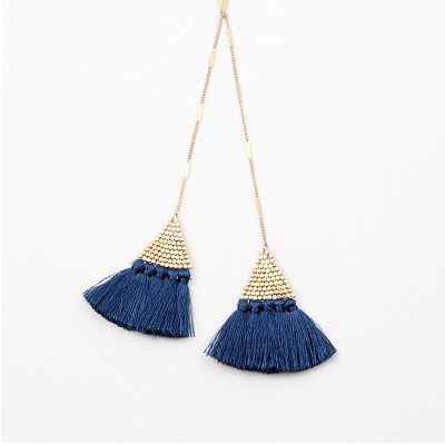 Navy Triangle Tassel Long Necklace