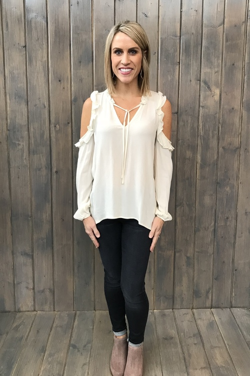 Ann Ivory Cold Shoulder Blouse