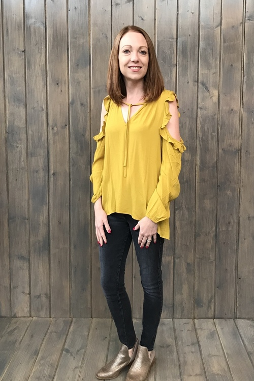 Ann Golden Palm Cold Shoulder Blouse