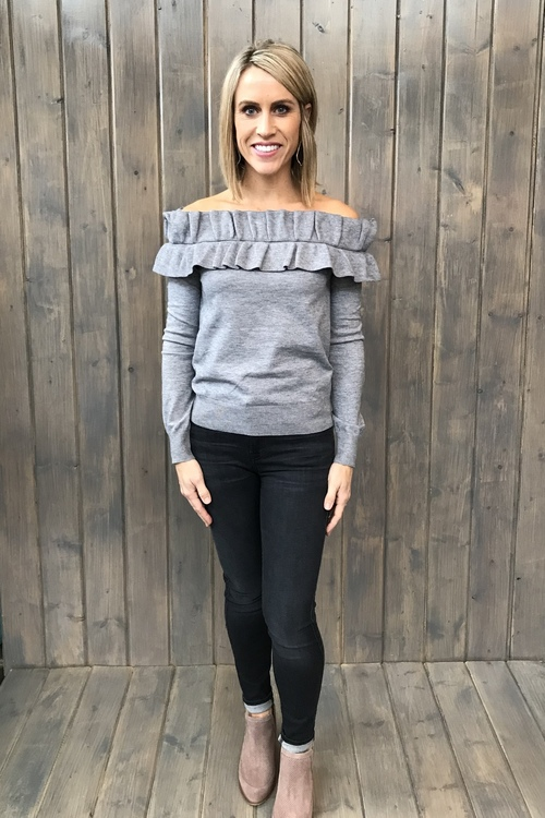Ruffled Off Shoulder Heather Grey