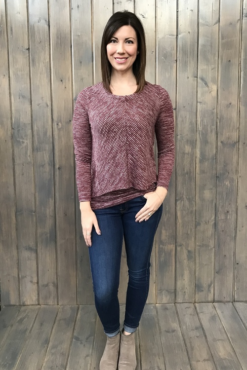 Striped Double Layer Maroon Tunic
