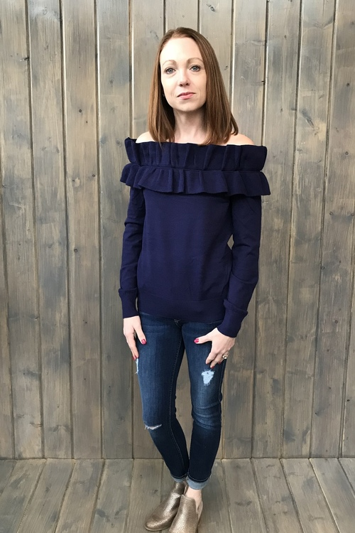 Ruffled Off Shoulder Navy