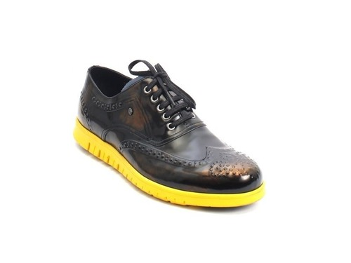Black / Navy / Yellow Leather Lace-Up Shoes