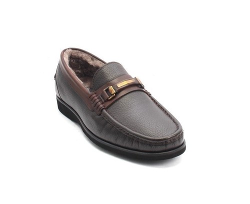 Brown Leather Shearling Loafer Shoes