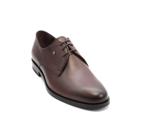 Brown Leather Lace-Up Dress Shoes