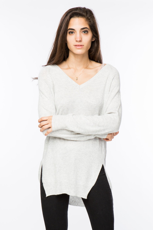 Side Slit V-Neck Sweater