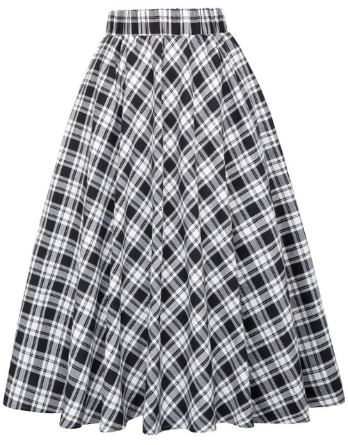 Highland skirt in white/black tartan