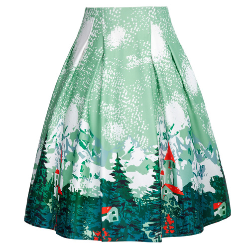 Vintage Winter scene skirt