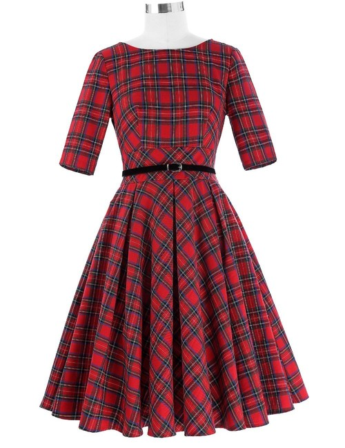 Sinead Dress in Red Tartan