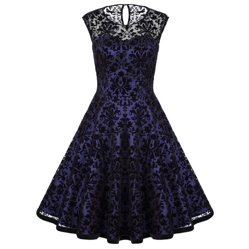Naomi dress Velvet brocade (purple)