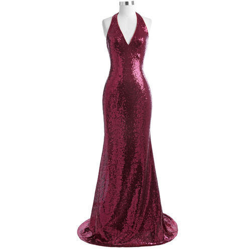 London Gown in Maroon Sequin
