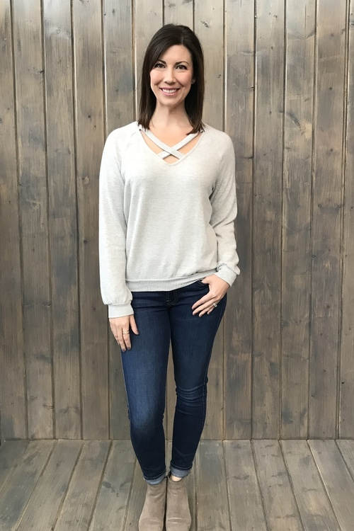 Paths That Cross Cozy Sweater Heather Grey