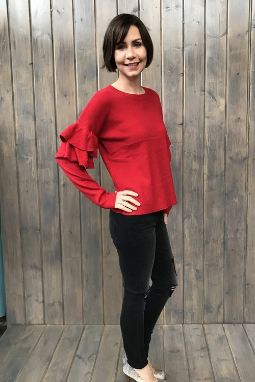 Double Ruffle Sleeve Sweater