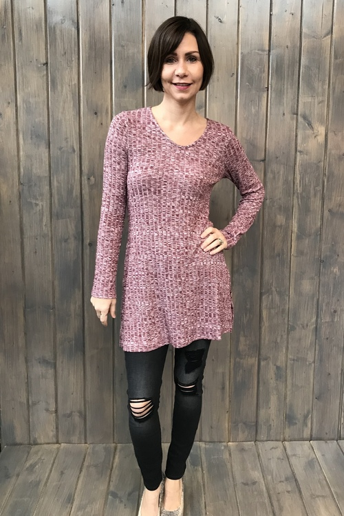 Rib Knit Brick Tunic