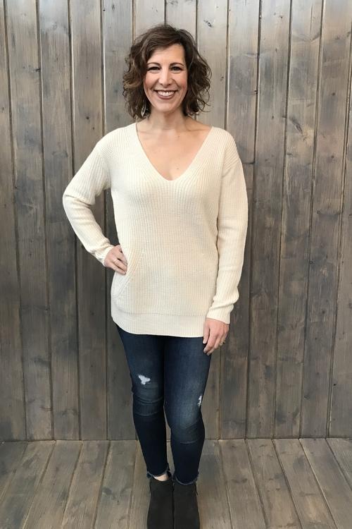 Mia Long V-Neck Sweater w/ Scarf