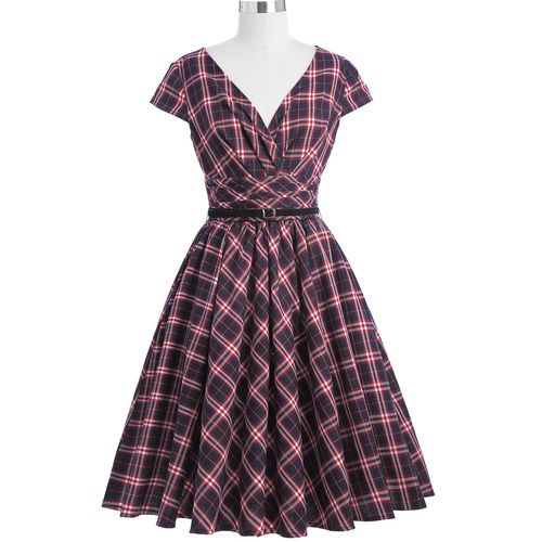 Dublin Dress in red/blue tartan