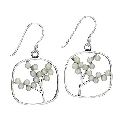 Branches of Pearls on Square Earrings