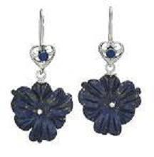 Carved Lapis Flower Earrings
