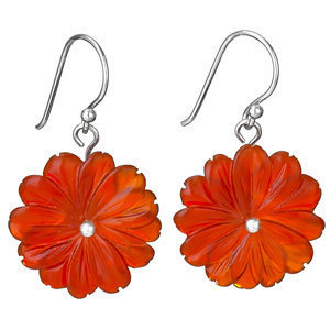 Carved Carnelian Flower Earrings