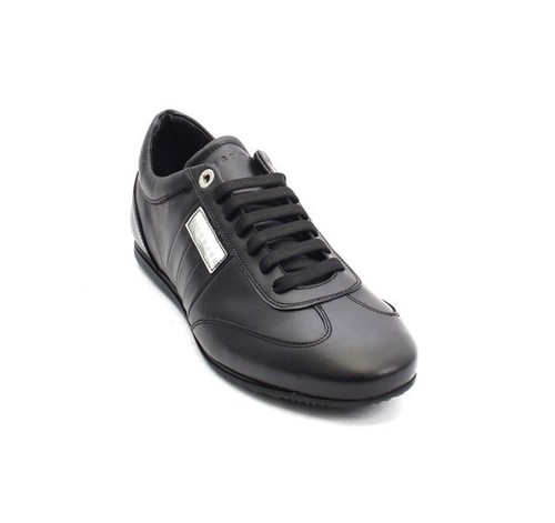 Black Leather Lace-Up Fashion Sneakers