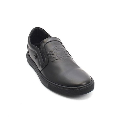 Black Leather Loafers Fashion Sneakers Shoes